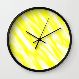Light metal crooked mirror with yellow white diagonal stripes. Wall Clock