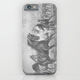 HORSES black & white illustration  iPhone Case