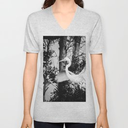 Great Egret In The Trees Unisex V-Neck