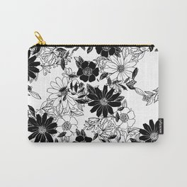 Modern black white hand drawn floral illustration Carry-All Pouch