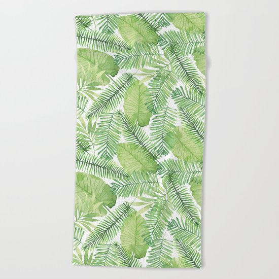 Tropical Branches Pattern 02 Beach Towel