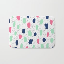 Pink blue brush strokes pattern Bath Mat