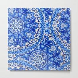 doily watercolor vector gzhel pattern Metal Print