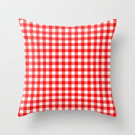 Gingham Red and White Pattern Throw Pillow