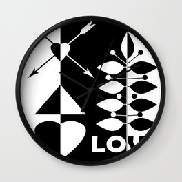 Scandinavian black and white abstract pattern . Wall Clock
