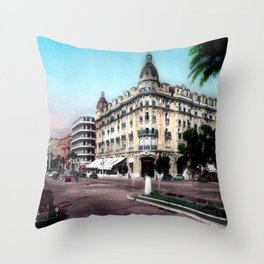 Vintage Hotel Ruhl in Nice during the 1950's Throw Pillow