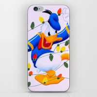 donald duck iPhone & iPod Skins featuring Donald Duck Holidays by Brian David