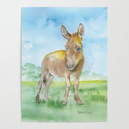 Donkey Watercolor Painting Poster