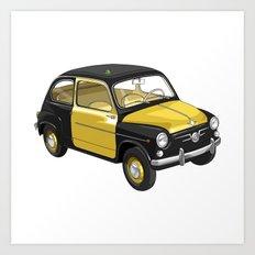 Barcelona Vintage Taxi Art Print
