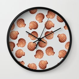 Grey Big Clam pattern Illustration design Wall Clock