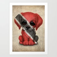 Cute Puppy Dog with flag of Trinidad and Tobago Art Print