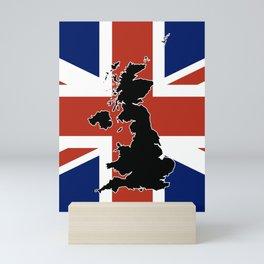 UK Silhouette and Flag Mini Art Print