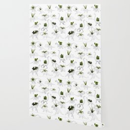 Dino and Cacti on White Wallpaper