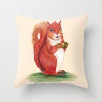 squirrel Throw Pillows featuring Squirrel by Yana Elkassova