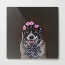 Dog in Pink Sponge Curlers Metal Print
