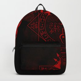 IS Symbol on Red Backpack
