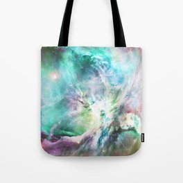 Abstract teal pink cosmic nebula space galaxy Tote Bag