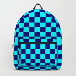 Cyan and Navy Blue Checkerboard Backpack