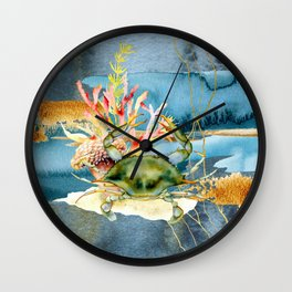 Watercolor Under Sea Collection: Crab and Coral Wall Clock