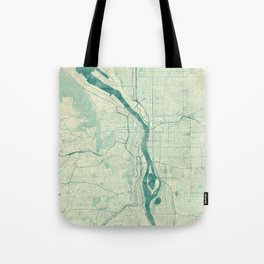 Portland Map Blue Vintage Tote Bag