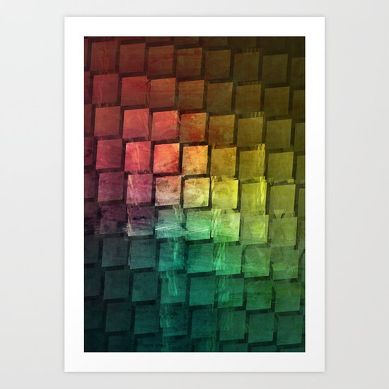 Rainbow grid Art Print