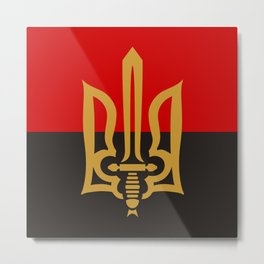 Stylized Tryzub And Red-Black Flag Metal Print