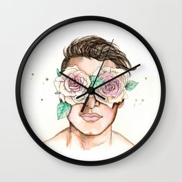 white roses in their eyes Wall Clock