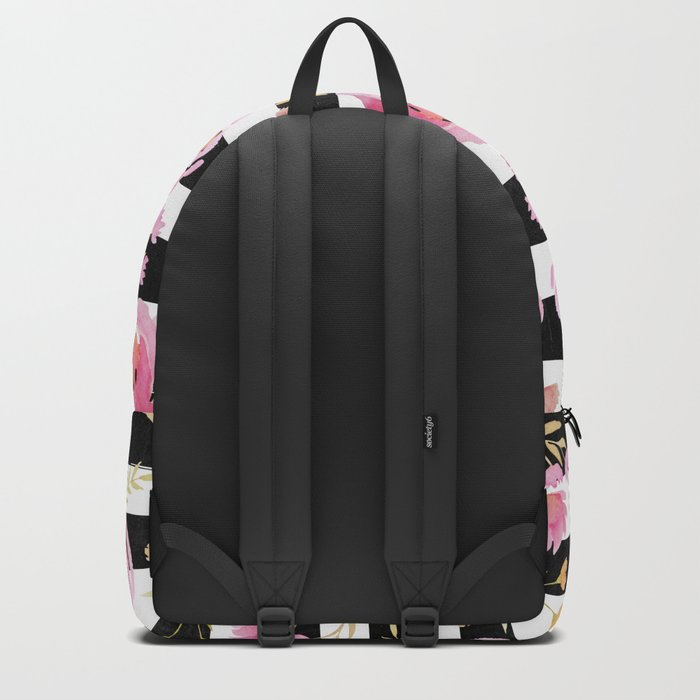 Delicate Poppy Pattern On Stripes 2 Backpack
