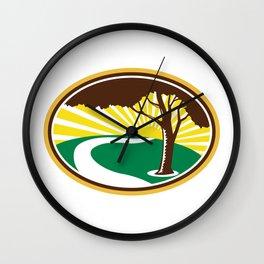 Pecan Tree Winding River Sunrise Retro Wall Clock