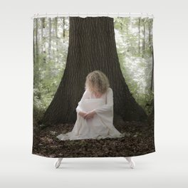 Waiting in the woods Shower Curtain