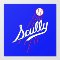 dodgers Canvas Prints featuring Vin Scully - Dodgers Logo Themed by Wear More Tees
