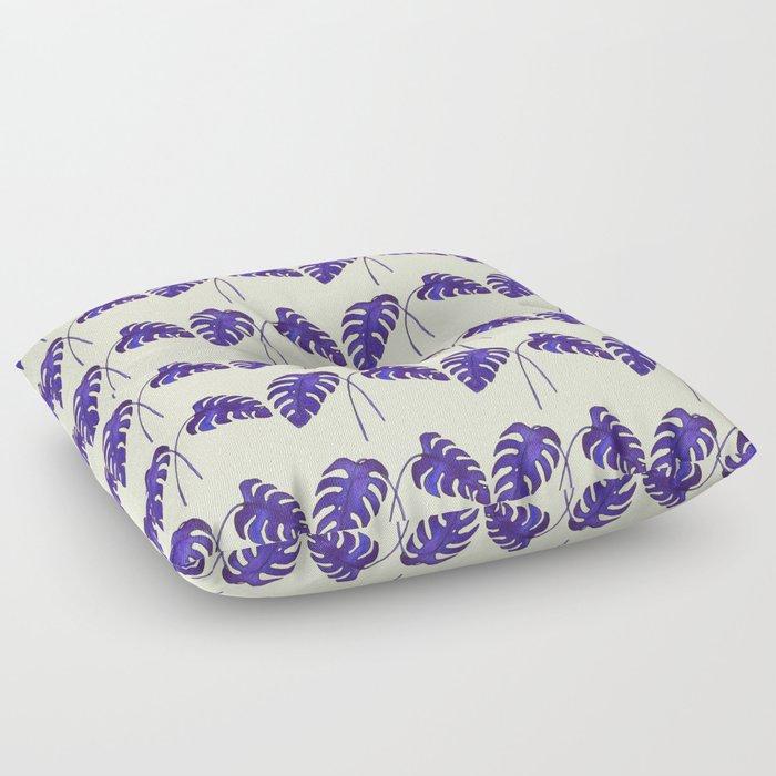 Indigo Monstera Leaf Watercolor on Blush Floor Pillow