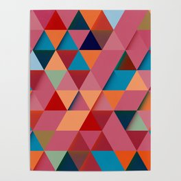 Colorfull abstract darker triangle pattern Poster