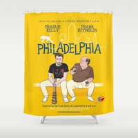 movie poster Shower Curtains featuring Philadelphia parody movie poster by LavaLamp Creative