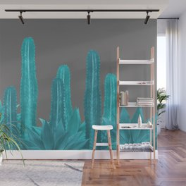 Agave Cactus Turquoise - grey Wall Mural