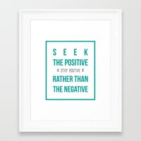 positive Framed Art Prints featuring #positive by Cool_Design