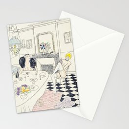Brunch vintage nude hand colored blonde female male dining Stationery Cards