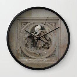 Halloween Witch on Broom 3d Stone Carving Photo Wall Clock