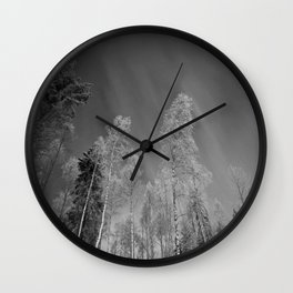 Northern Lights & Pine Trees (Black and White) Wall Clock
