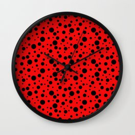 Ladybug style - scarlet red background and black polka dots Wall Clock