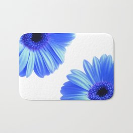 Blue Gerbera Flowers Bath Mat