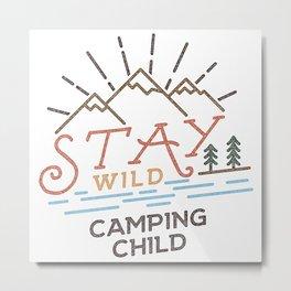 Stay Wild. Line Art Design Metal Print