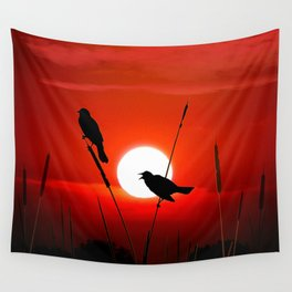 Blackbirds On Red Sunset. Wall Tapestry