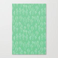 Mint Green Cactus Pattern Canvas Print