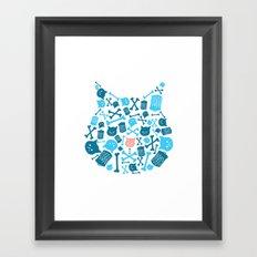 Trash Cat Pattern Framed Art Print