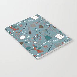 Blue Science and Math Icons Notebook