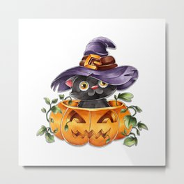 Cute Watercolor Halloween Black Cat with Witch Hat Metal Print
