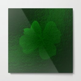 with a small brush shiny green shamrock Metal Print