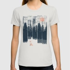 A Fox in the Wild... Womens Fitted Tee MEDIUM Silver