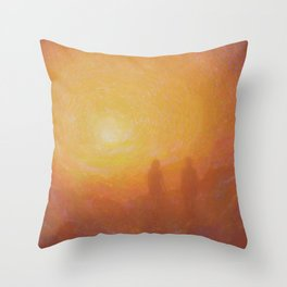 Two Figures at Sunset/Sunrise Throw Pillow